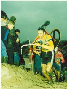 1993 Hilvarenbeek. Adrie van der Poel (Kapellen, B) en Wim de Vos (Oosterhout) op het NK in de zandveldrit van de Beekse Bergen (foto Jeroen Verhelst)